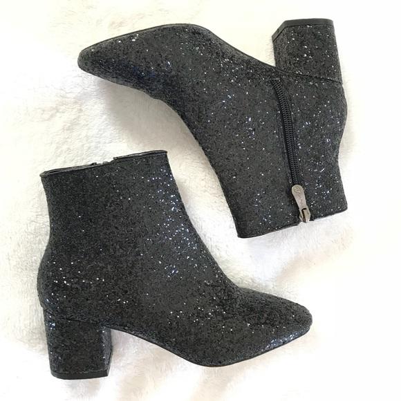 Cape Robbin Black Glitter Ankle Bootie